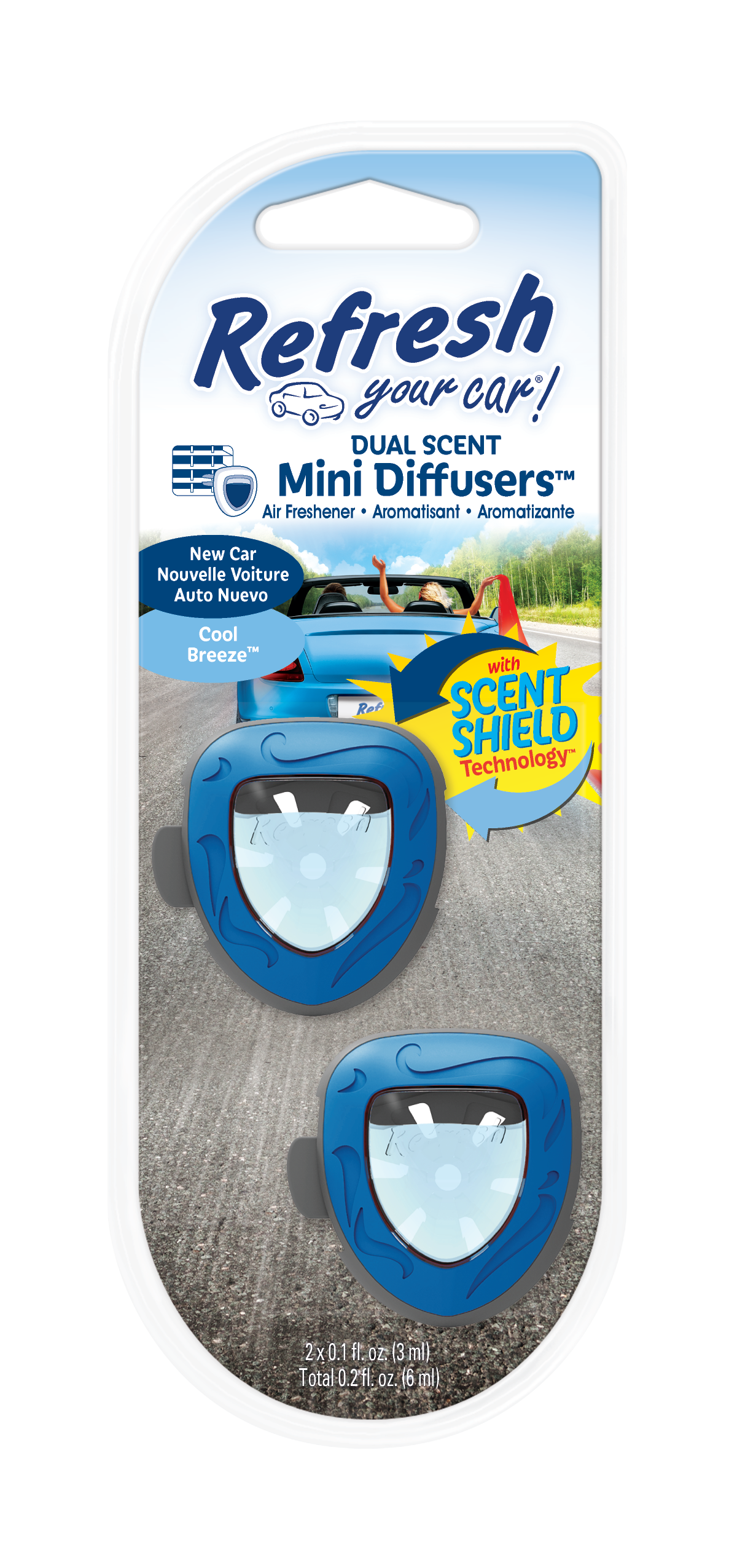 Refresh Your Car! Air Freshener, New Car / Cool Breeze, 2 Pack