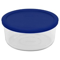Pyrex 7 Cup Glass Round Storage Container Blue