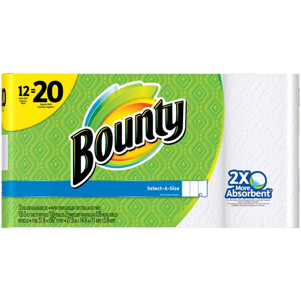Bounty Select-A-Size, White, 20 Regular Rolls  Paper Towels