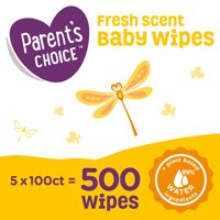 Parent's Choice Fresh Scent Baby Wipes, 5 packs of 100 (500 count)