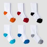 Baby Boys' Athletic Crew Socks 6pk - Cat & Jack™ Orange/Blue 6-12M
