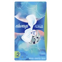 ALWAYS Infinity, Size 2, Super Sanitary Pads with Wings, Unscented, 32 Count