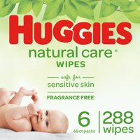 Huggies Natural Care Unscented Baby Wipes, 6 Flip-Top Packs (288 Total Wipes)