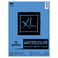 Canson XL Watercolor Art Pad, 9' x 12' Natural White Paper, 30 Fold Over Sheets