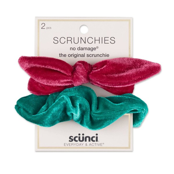 Scunci Wired Velvet Scrunchies - 2pk