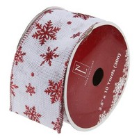 Northlight White and Red Snowflakes Burlap Wired Christmas Craft Ribbon 2.5