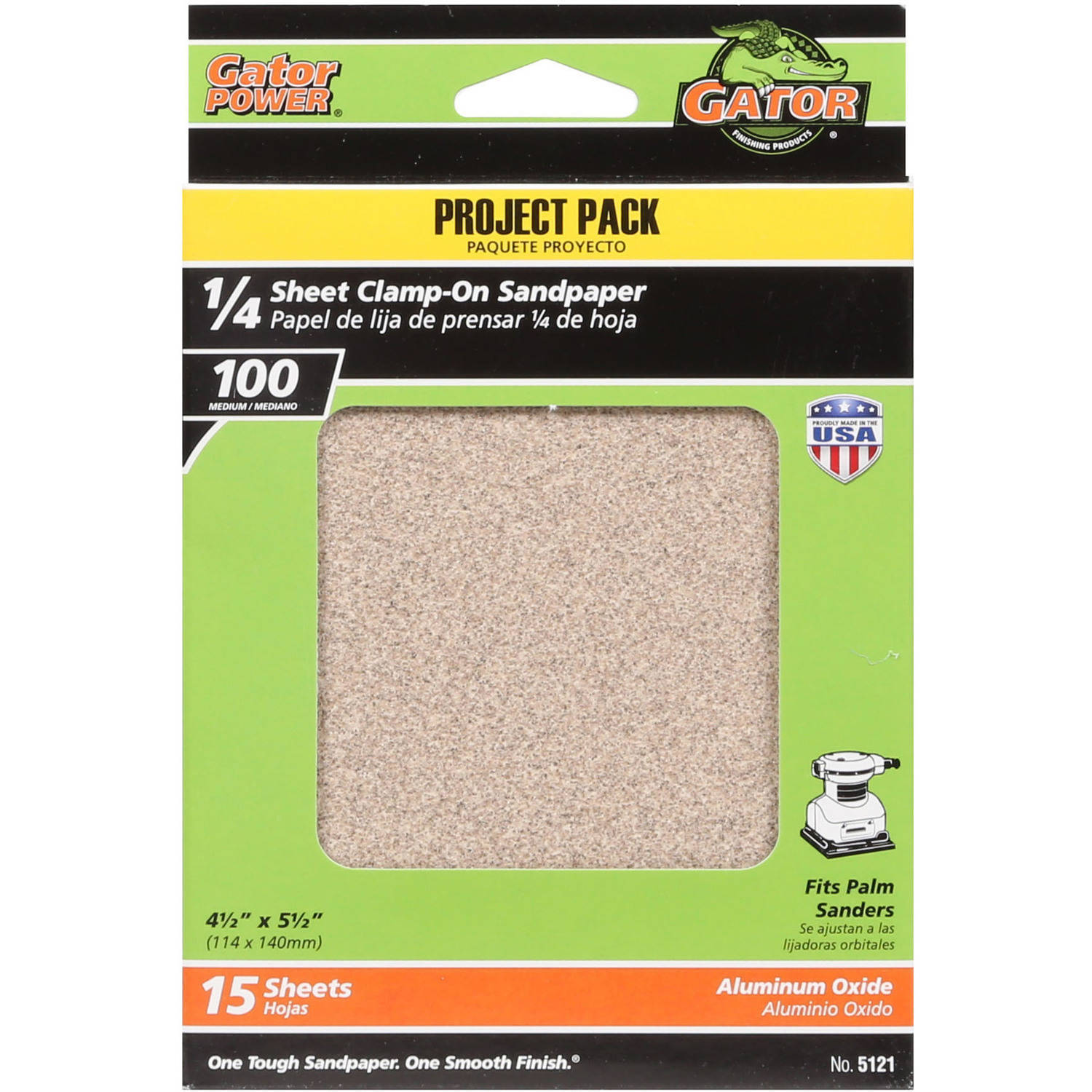 Gator Grit 4.5' x 5.5' 1/4 Sheet Clamp-On Sandpaper, 100G, 15pk