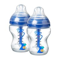 Tommee Tippee Advanced Anti-Colic Decorated Baby Bottles, Boy – 9 ounce, Blue, 2 count