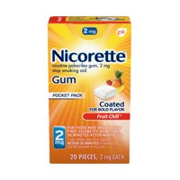 Nicorette Nicotine Coated Gum to Stop Smoking, 2mg, Fruit Chill Flavor - 20 Count