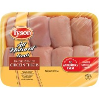 Tyson All Natural Boneless & Skinless Antibiotic Free Chicken Thighs - 0.94-2.86lbs - priced per lb