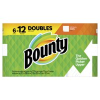 Bounty Paper Towels, White, 6 Double Rolls = 12 Regular Rolls