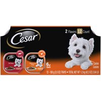 (12 Pack) CESAR Wet Dog Food Classic Loaf in Sauce Beef and Chicken & Liver Recipes Variety Pack, 3.5 oz. Easy Peel Trays