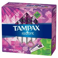 Tampax Radiant Super Absorbency Tampons - 28ct