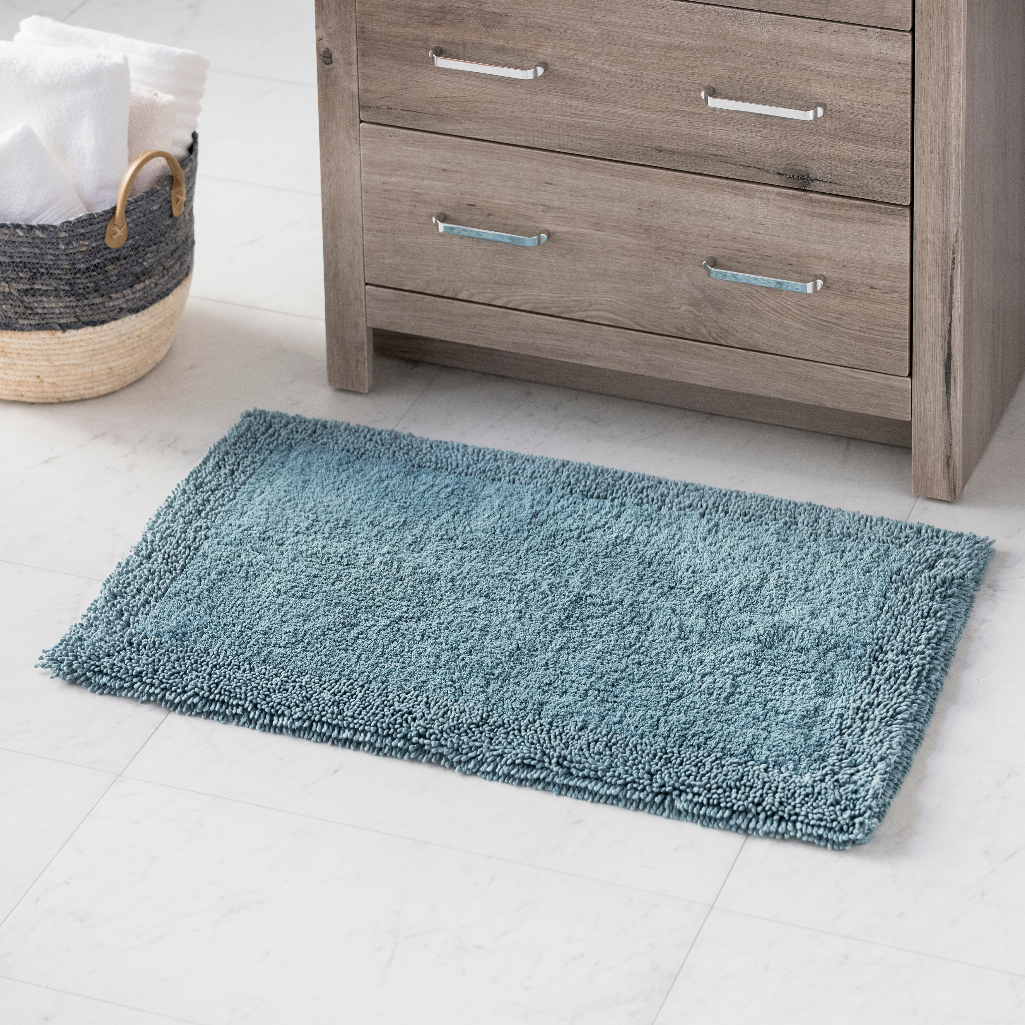Hotel Style Cotton Blend Solid Bath Rug, 17