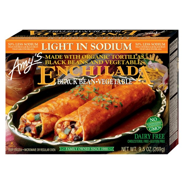 Amy's Light in Sodium Organic Black Bean & Vegetable Frozen Enchilada Entree - 9.5oz