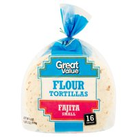 Great Value Fajita Small Flour Tortillas, 16 count, 18 oz