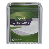 Depend Bed Pads for Incontinence, Disposable Underpad, Overnight Absorbency, 12 ct
