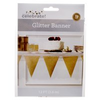 Way to Celebrate Gold Glitter Pennant Banner, 12'