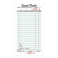 Adams Guest Check Pads, Single Part, Perforated, White, 3-2/5' x 6-1/4', 50 Sheets/Pad, 5 Pads/Pack