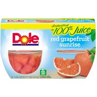(4 Cups) Dole Fruit Bowls Red Grapefruit in 100% Fruit Juice, 4 oz cups