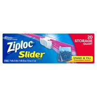 Ziploc Slider Storage Bags, Quart, 20 Count