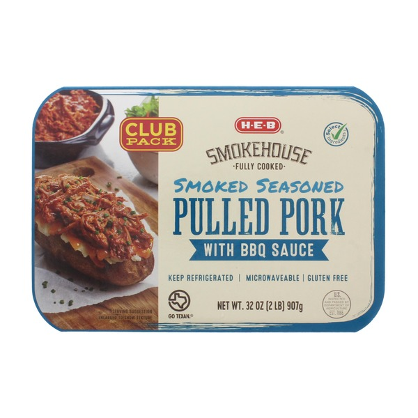 H-E-B Fully Cooked Smoked Seasoned Pulled Pork With BBQ Sauce Club Pack