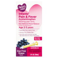 Parents Choice Infants' Pain & Fever, Acetaminophen 160 mg per 5 mL, Suspension Liquid, Dye-Free Grape Flavor 2 fl oz
