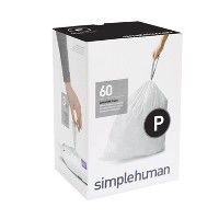 simplehuman 60ct Code P Custom Fit Trash Can Liner White