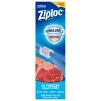Ziploc Brand Slider Freezer Gallon Bags with Power Shield Technology, 20 Count