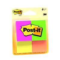 Post-it Original Notes 4 Pack, 1.5in x 2in, Assorted Neon Colors, 50 Sheets per pad