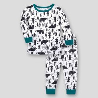 Lamaze Baby 2pk Woodland Printed Organic Cotton Thermal Underwear Set - Black