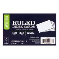 Pen + Gear Ruled Index Cards, White, 100 Count