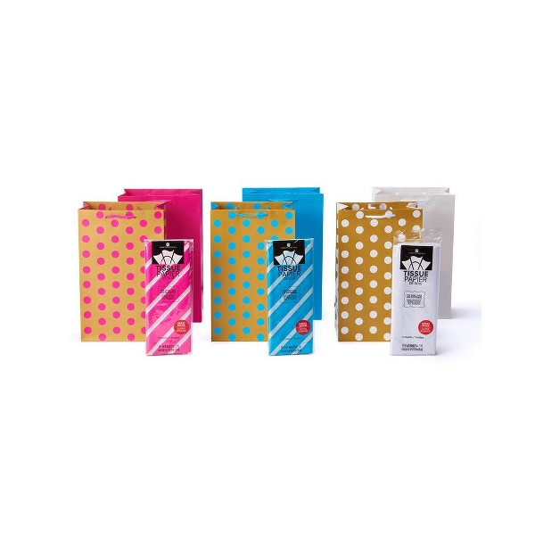 6pk Gift Bags And Tissue Paper Bundle