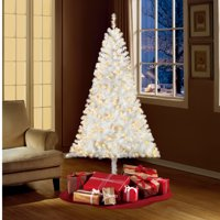 Holiday Time Pre-Lit 6.5' Madison Pine White Artificial Christmas Tree, Clear-Lights