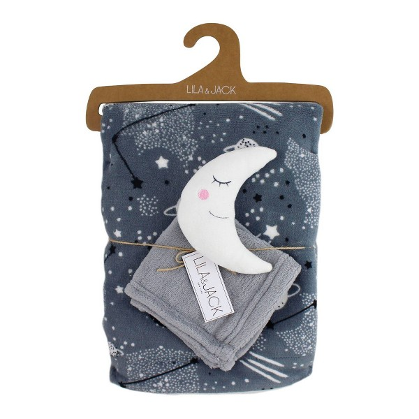 Lila and Jack Gray with Black & White Stars Fleece Kids Throw with White and Gray Moon Lovey Set