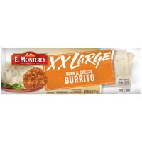 El Monterey XX Large Bean and Cheese Burrito, Authentic Mexican Recipe Refrigerated Single-Serve Burrito, 9 oz.