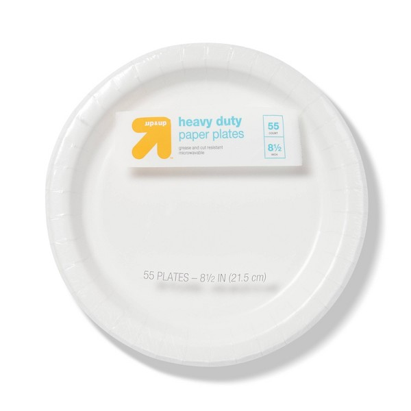 """Heavy Duty White Paper Plates 8.5"""" - 55ct- Up&Up™"""