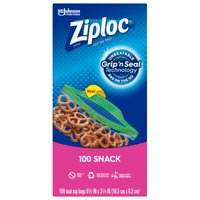 Ziploc Brand Snack Bags with Grip 'n Seal Technology, 100 Count