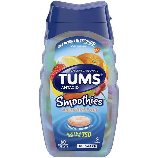 Tums Antacid, Extra Strength 750, Chewable Tablets, Assorted Fruit