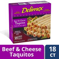 Delimex Beef & Cheese Flour Taquitos, Frozen Appetizer, 18 ct - 21.6 oz Box