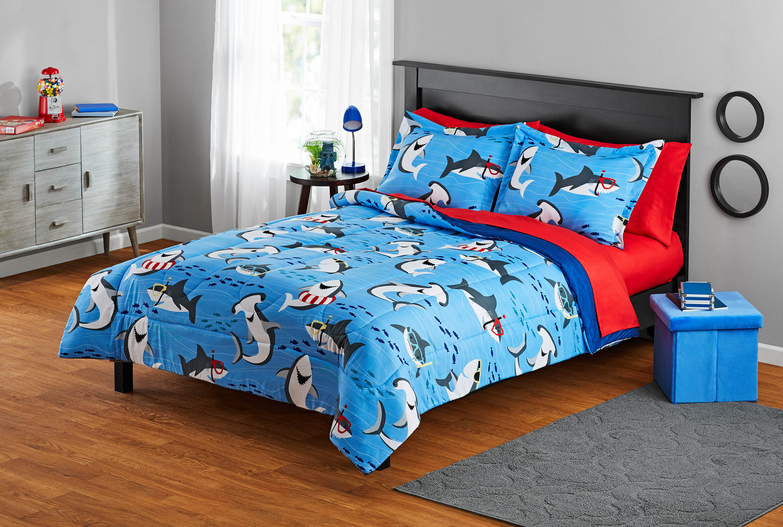 Your Zone Blue Sharks Bed-in-a-Bag Kids Bedding Set with Reversible Comforter
