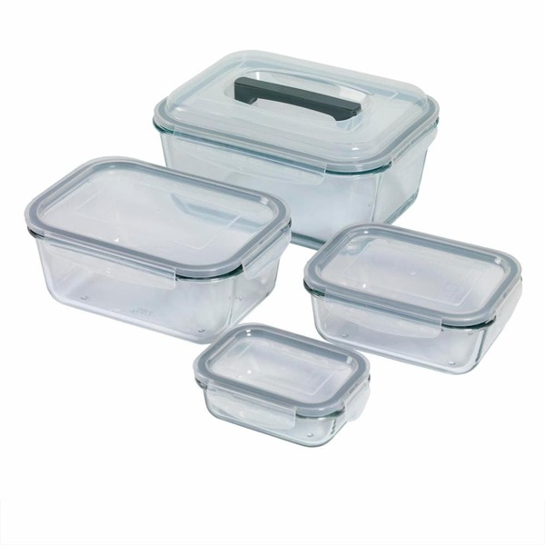 Best Essentials 8 Piece Clear Rectangle Glass Storage Container