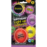Illooms Printed Happy Birthday LightUp Balloons, 5pk, Mixed Colors