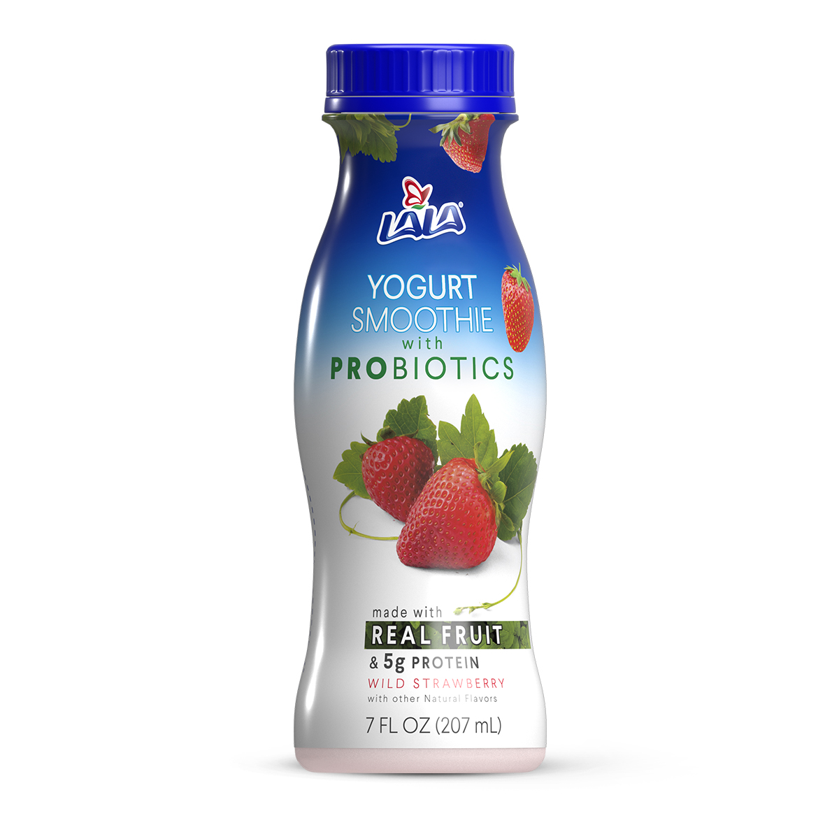 LALA Drinkable Yogurt Smoothie with Probiotics, 5g of Protein, Wild Strawberry, 7-Ounce Bottle