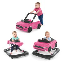 Bright Starts 3 Ways to Play Ford Mustang Baby Walker with Activity Station, Pink