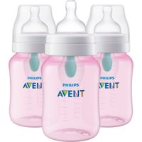 Philips Avent Anti-colic Bottle with AirFree vent 9oz 3pk Pink, SCF404/34
