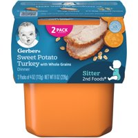Gerber 2nd Foods Sweet Potato Turkey with Whole Grains Dinner Baby Food, 4 oz. Tubs, 2 Count