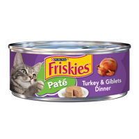 Friskies Pate Wet Cat Food, Turkey & Giblets Dinner, 5.5 oz. Can