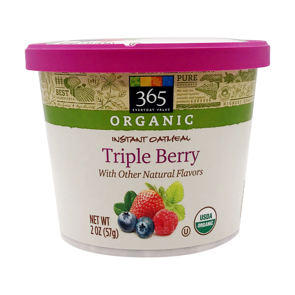 365 everyday value® Organic Triple Berry Instant Oatmeal, 2 oz