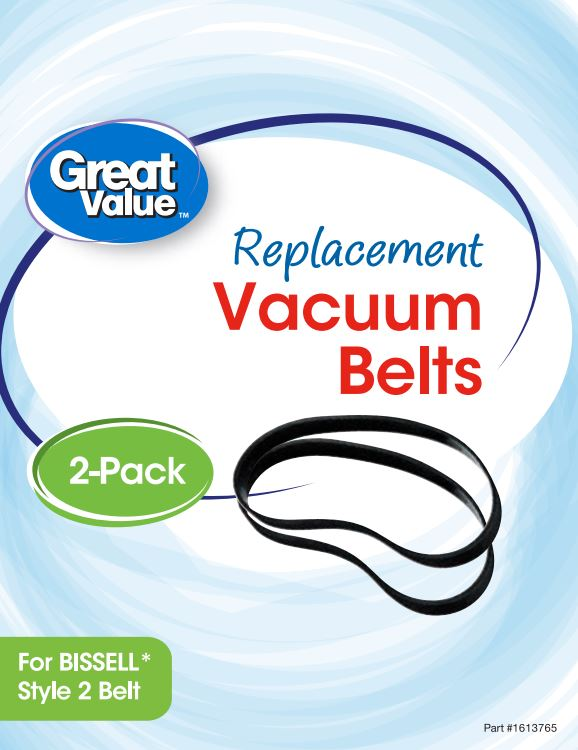 Great Value Replacement Vacuum Belts, For Bissell Style 2 Belt, 2 Count
